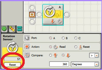 Tutorial Bloque Built in Rotation Sensor de LEGO Mindstorm NXT
